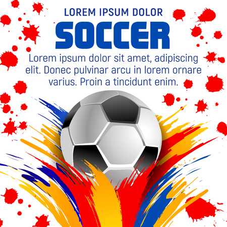 Soccer sport match banner set for football championship tournament 91365132 soccer ball with paint splash poster of football sport game template football sport club banner of soccer ball decorated by colorful paint stopboris Choice Image