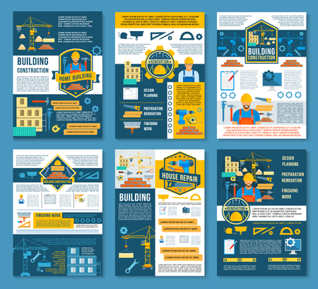 House construction, home repair and renovation planning banner. Construction site with equipment, builder work tool and instrument, architect drawing and project for building industry poster design Illustration