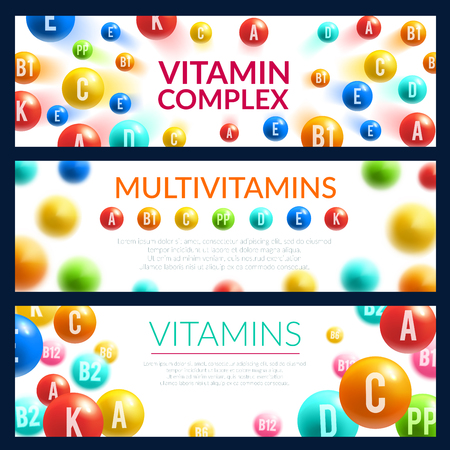 Vitamin pill 3d banner for medicine template. Complex of multivitamin capsules with group of vitamin A, B and C, D and PP for nutrition supplements label or pharmacy advertising flyer design