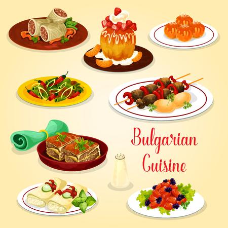 ブルガリア料理肉料理とチーズ デザート アイコン。牛肉のグリル kebapche、野菜の肉鍋ムサカ、ロール キャベツ、ピーマンのトマト煮込み、揚げド  イラスト・ベクター素材