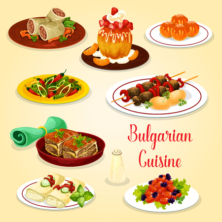 Bulgarian cuisine icon with meat dishes and cheese dessert. Grilled beef kebapche, vegetable meat casserole moussaka and cabbage roll, tomato pepper stew, fried donut, rum cake and sweet pancake roll
