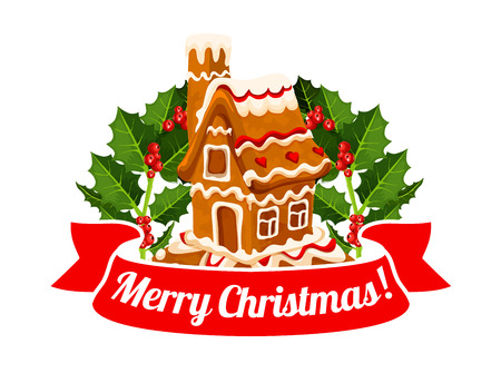 Gingerbread cookie house badge of Christmas design  イラスト・ベクター素材