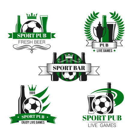 Sport bar icon of soccer ball and football trophy