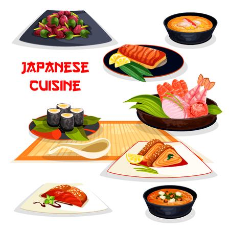 アジア料理の日本食レストランのランチ料理  イラスト・ベクター素材