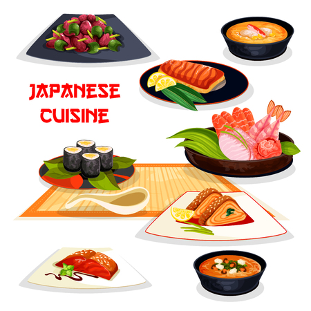A Japanese restaurant lunch dishes of asian cuisine