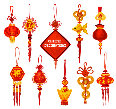Chinese New Year ornament icons.