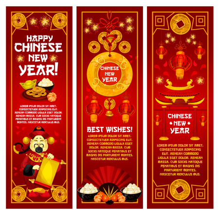 Happy Chinese New Year banners. Çizim