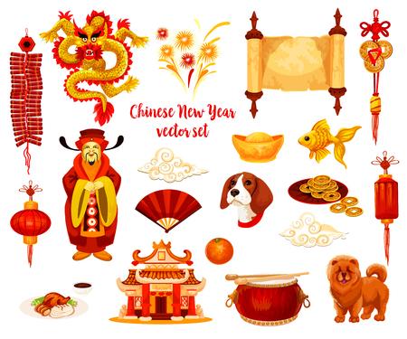 Chinese New Year symbol set of Spring Festival celebration.