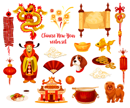 Chinese New Year symbol set of Spring Festival celebration.