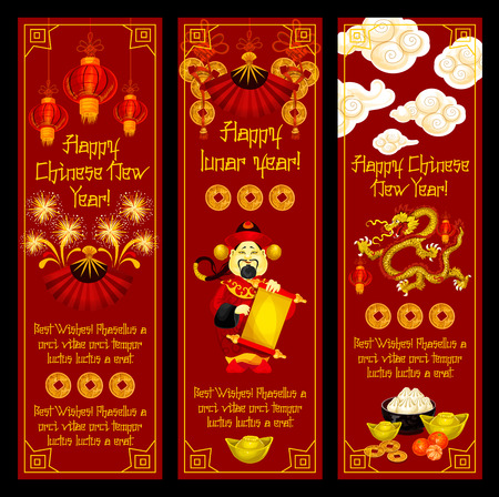 Happy Chinese lunar New Year greeting banners of traditional Chinese symbols and decorations. Vector golden coin hieroglyph, red paper lantern or mandarin man and fireworks dragon for China New Year