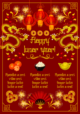 Gelukkig Chinees nieuwjaarsgroetkaart van traditionele Chinese fortuin en rijkdomsymbolen en decoratie. Vector hiërogliefen, gouden munten of rode papieren lantaarn en draak vuurwerk voor China Nieuwjaar