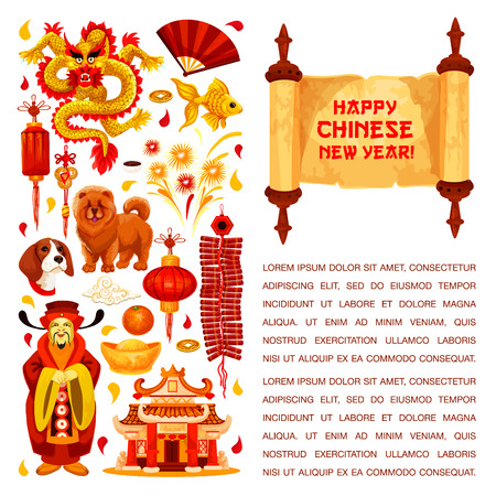 Happy Chinese New Year hieroglyph greeting on paper scroll and traditional symbols of China lunar year holiday. Vector golden dragon and red paper lantern, China emperor at temple and gold sycee ingot Illustration