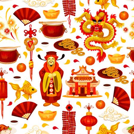 De Chinese achtergrond van het Nieuwjaar naadloze patroon met Aziatische vakantiesymbolen. Oriental Spring Festival-lantaarn, draak en god van rijkdom, fortuinmuntstuk, goudstaaf en pagode, vuurwerk, ventilator en knaller Stockfoto - 91989846