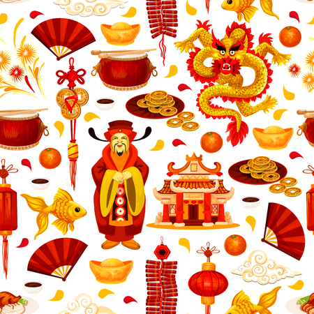 Chinese New Year seamless pattern background with asian holiday symbols. Oriental Spring Festival lantern, dragon and god of wealth, fortune coin, gold ingot and pagoda, firework, fan and firecracker Illustration