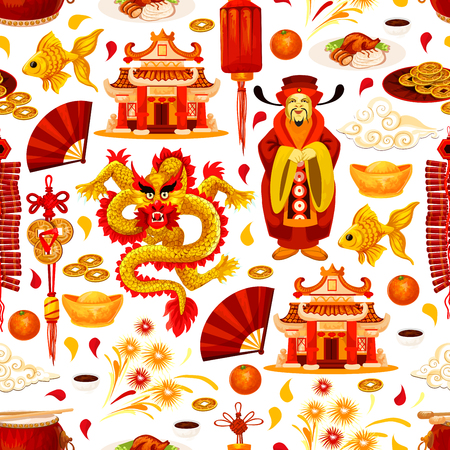 Chinese lunar New Year holiday traditional symbols seamless pattern. Vector background of golden China decorations and ornaments of dragon, fish or coins, temple arch or Chinese emperor with fireworks Ilustração