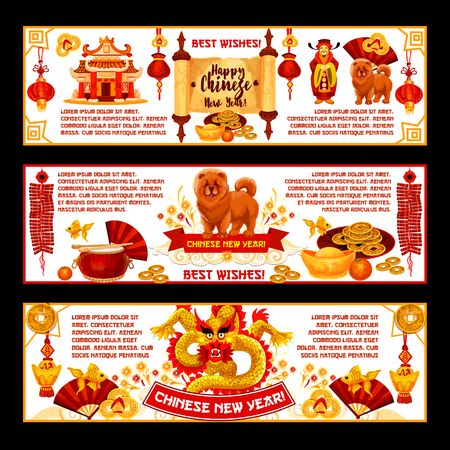 Happy Chinese New Year greeting banners of traditional China lunar new year holiday symbols. Vector Chinese drums, fan and red paper lanterns or lucky knot ornament with gold coins decorations