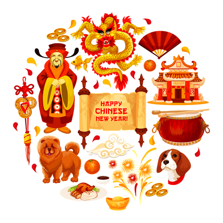 Happy Chinese New Year poster of traditional china lunar holiday symbols. Vector Emperor with hieroglyph greeting card, dragon and red paper lantern or golden coins on lucky knot ornament decoration
