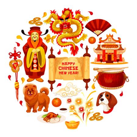 Manifesto cinese felice anno nuovo di simboli di vacanza lunare di Cina tradizionale. Vector l'imperatore con la cartolina d'auguri del geroglifico, il drago e la lanterna di carta rossa o le monete dorate sulla decorazione dell'ornamento del nodo fortunato Archivio Fotografico - 91993311