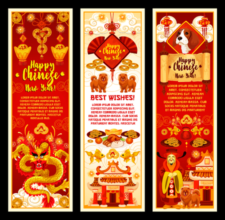 Chinese New Year symbols vector greeting banners