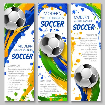 サッカーの試合の競争やスポーツクラブのテンプレートのためのサッカーベクトルバナー。カラフルなペイントブラシストローク、スプラッシュや