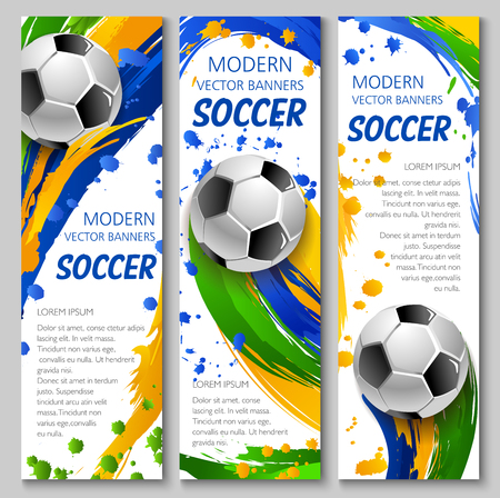 Soccer vector banners for football game competition and sport club template. Soccer ball flying with motion trail of colorful paint brush stroke, splashes and spots