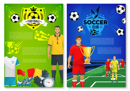 Soccer sport club poster with football team player and trophy. Soccer stadium field with ball, winner cup and referee sporting banner, adorned by football club shield badge with laurel wreath and star Ilustração