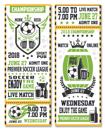 Sport game ticket for soccer championship match broadcast. Soccer ball, beer glass and winner trophy cup on shield and beer barrel with ribbon banner, laurel wreath and star