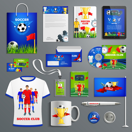 Soccer sport club corporate identity for football team branding. Business card, folder cover, letterhead layout and office stationery with football players, soccer ball and winner trophy cup Ilustração