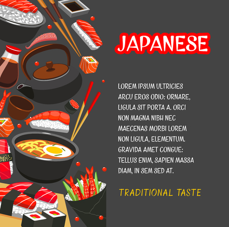 Japanese seafood dinner poster for Asian cuisine restaurant template. Salmon fish and rice sushi roll, shrimp and octopus nigiri sushi, tuna sashimi, noodle soup ramen with soy sauce and chopsticks.
