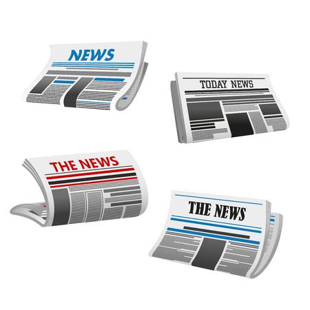 접힌 된 인쇄 된 신문 뉴스의 신문 아이콘입니다. 제목, 기둥 및 그림 모형이있는 일간 또는 주간 신문의 첫 페이지. 미디어 및 저널리즘 테마 디자인을 일러스트