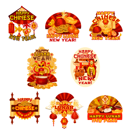 Set of Chinese New Year badge of asian lunar calendar holiday celebration.