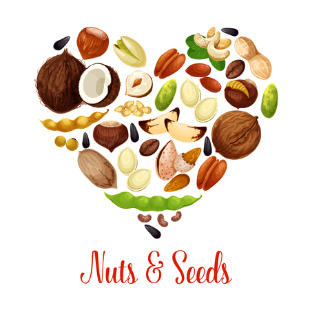 Heart illustration of healthy snack foods.