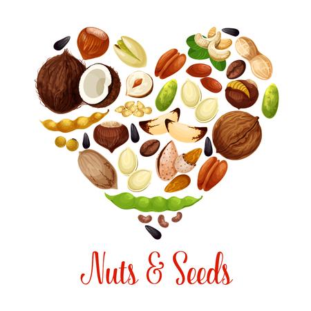 건강 한 스낵 식품의 심장 그림입니다.