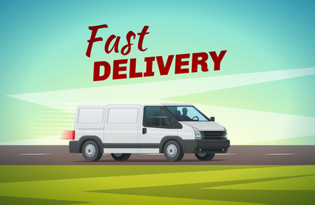 Delivery truck or van cartoon poster of commercial motor vehicle.