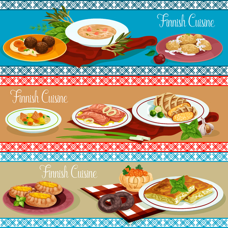 Finnish cuisine dinner of restaurant menu banner concept illustration.