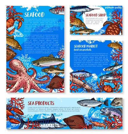 シーフード ショップ、魚市場のテンプレート デザイン
