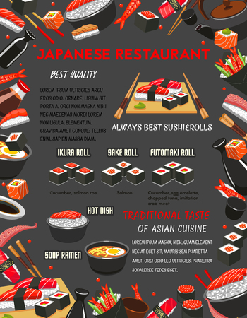 Japanese restaurant sushi and hot dishes. Menu banner with frame of seafood sushi and salmon fish roll, sticky rice with tuna sashimi and soy sauce, meat soup ramen with noodle, chopsticks and tea set