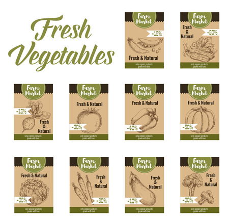 Farm market tag with fresh and natural vegetables labels.