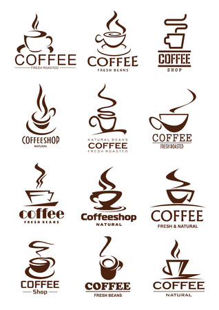 Coffee cup isolated icons of coffee shop and cafe. Coffee cup and mug with cappuccino or americano, espresso and latte hot drink icons, decorated with steam for beverage and drink design Illustration