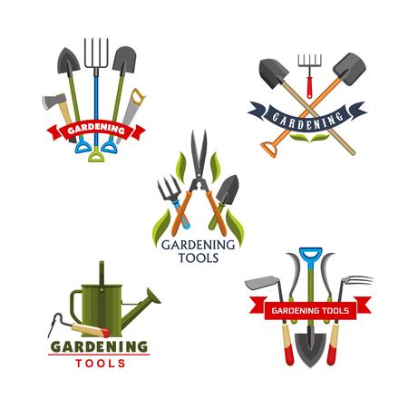 원 예 및 농업에 대 한 도구 및 장비 아이콘입니다. 작업 삽, 갈퀴 및 물을 수있는 포크, 스페이드 및 pruner, 도끼 및 톱, 커터 및 갈퀴, 리본 배너와 녹색