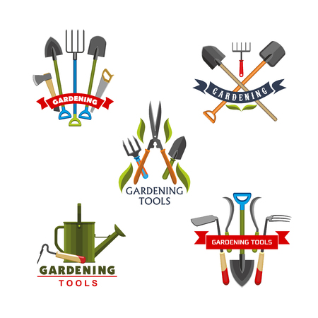 Tool and equipment icons for gardening and agriculture. Work shovel, rake and watering can, fork, spade and pruner, axe and saw, cutter and pitchfork, framed with ribbon banner and green leaf