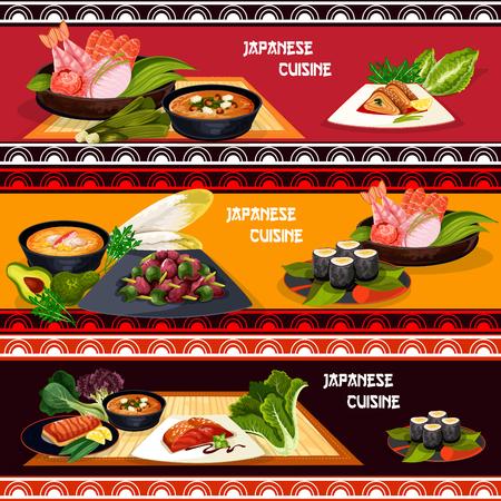 日本料理レストランメニューバナーセットのシーフード料理。寿司ロール、魚刺身、サーモン焼き、卵ロール、エビと味噌汁フェタチーズ、唐辛子