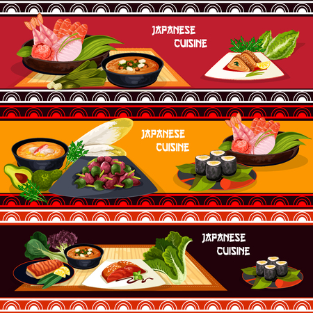Japanese cuisine restaurant menu banner set of seafood dishes. Sushi roll, fish sashimi and grilled salmon, egg roll, shrimp and miso soup with feta cheese, liver salad with pepper and teriyaki sauce Illustration