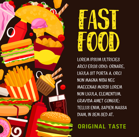 Fast food banner with lunch snack and drink. Hamburger, hot dog and cheeseburger, fries, soda and coffee, donut, chicken nuggets, sandwich, ice cream and taco for restaurant menu design Illustration