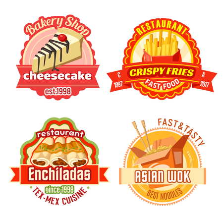 Fast food and bakery shop labels. French fries, chinese wok noodle, mexican tortilla roll or meat enchilada and cheesecake isolated icon with ribbon banner for fast food package design