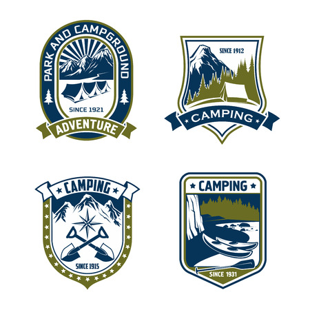 Camping badge of mountain or forest camp adventure.