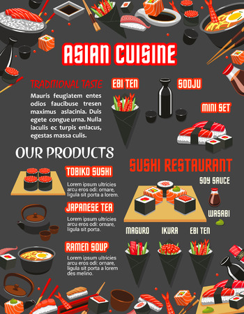 아시아 요리 템플릿의 일본 스시 레스토랑 메뉴입니다. 해물 스시 롤, 연어 생선 찹쌀, 참치와 새우 생선회, 간장라면 젓갈, 젓가락, 녹차 일러스트