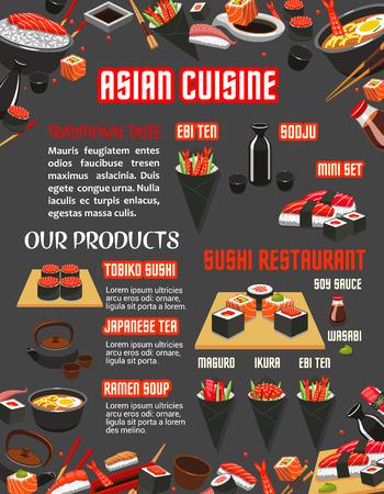 Japanse sushi restaurant menu van Aziatische keuken sjabloon. Zeevruchten sushi roll, kleefrijst met zalm, tonijn en garnalen sashimi, noodle ramen soep banner met sojasaus, eetstokjes en groene thee