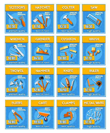 Repair equipment and tools and instrument price labels.
