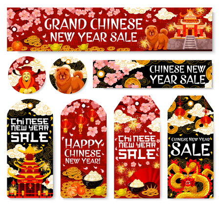 Chinese New Year sale on tags and banners of golden decorations and traditional Chinese ornaments. Vector dragon, fan or paper lanterns and fireworks for China lunar new year holiday sale discount